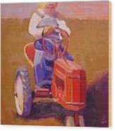 Boy On Tractor Wood Print