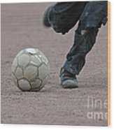 Boy Playing Soccer With A Ball Wood Print