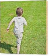 Boy Running Wood Print