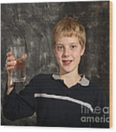 Boy With A Hot Glass Of Water Wood Print