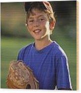 Boy With Baseball Glove Wood Print