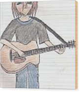 Boy With Guitar Wood Print