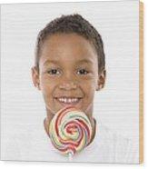 Boy With Lollipop Wood Print