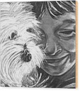 Boy With Pet Dog Wood Print