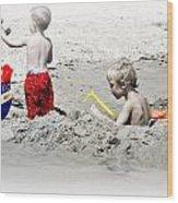 Boys Will Be Boys At The Beach Nj Wood Print by Gwenn Dunlap