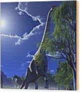 Brachiosaurus Dinosaurs, Artwork Wood Print by Roger Harris