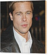 Brad Pitt At The Premiere Of Oceans Wood Print