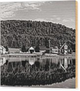 Brant Lake Reflections Black And White Wood Print