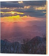Brasstown Sunset Wood Print by Debra and Dave Vanderlaan