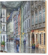 Bratislava Rainy Day In Old Town Wood Print