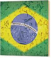 Brazil Flag Vintage Wood Print by Jane Rix