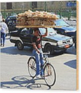 Bread On A Bicycle Wood Print