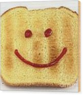 Bread With Happy Face Wood Print