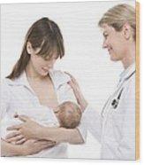 Breastfeeding Advice Wood Print by