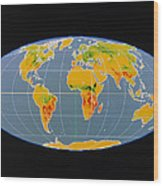 'breathing Earth' Co2 Input/output, Global Map Wood Print