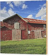 Breeze Hill Red Green And Blue Wood Print