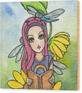 Brianna's Dragonflies Wood Print by Nora Blansett