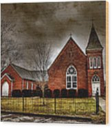 Brick Church Wood Print