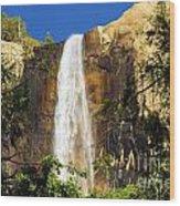 Bridal Veil Falls At Yosemite Wood Print