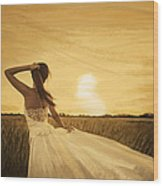 Bride In Yellow Field On Sunset  Wood Print