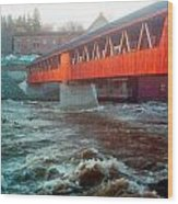 Bridge Across The Ammonoosuc River Wood Print