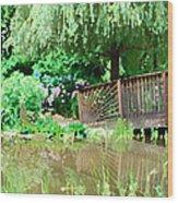 Bridge And Hydrangea Wood Print