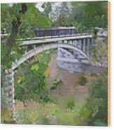 Bridge At Lake Park Wood Print
