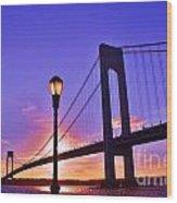 Bridge At Sunset 2 Wood Print