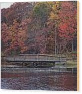 Bridge In Autumn Wood Print