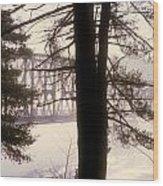 Bridge In The Fog Wood Print