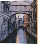 Bridge Of Sighs And Morning Colors In Venice Wood Print