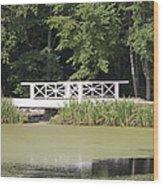 Bridge Over An Algae Covered Pond Wood Print by Jaak Nilson