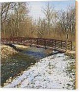 Bridge Over The Creek In Winter Wood Print