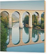 Bridge Over The River Durance In Sisteron, France Wood Print by Kirill Rudenko