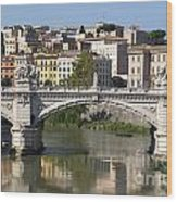 Bridge Ponte Vittorio II. River Tiber.rome Wood Print by Bernard Jaubert