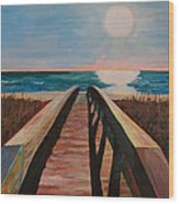 Bridge To Beach Wood Print