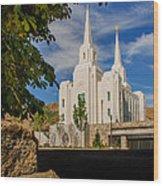 Brigham City Temple Stones Wood Print
