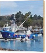 Bright Blue Fishing Ship Wood Print