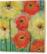 Bright Colored Flowers Shine Wood Print