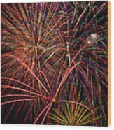 Bright Colorful Fireworks Wood Print