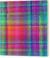 Bright Plaid Wood Print by Louisa Knight