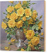 Bright Smile - Roses In A Silver Vase Wood Print