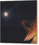 Bright Star And Satellite Dish Wood Print