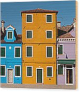 Brightly Painted Houses Of Burano Wood Print