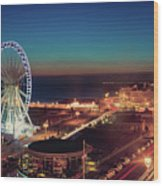 Brighton Wheel And Seafront Lit Up At Night Wood Print by PhotoMadly