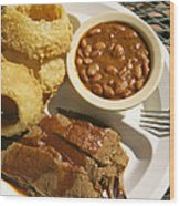 Brisket, Beans, & Rings At Famous Sonny Wood Print by Richard Nowitz