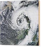 British Isles Storm And Ash Plume, 2011 Wood Print