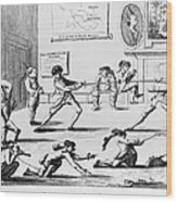 British Officers: Cartoon. English Cartoon Satire, 1777, On The Want Of Training Of British Officers To Prepare Them For The American War Wood Print
