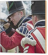 British Soldier Shooting Wood Print