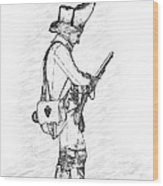 British Soldier With Rifle Sketch Wood Print